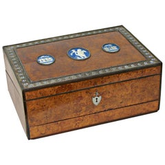Geo III Wedgwood and Steel Mounted Amboyna and Ebony Writing Box, c1800