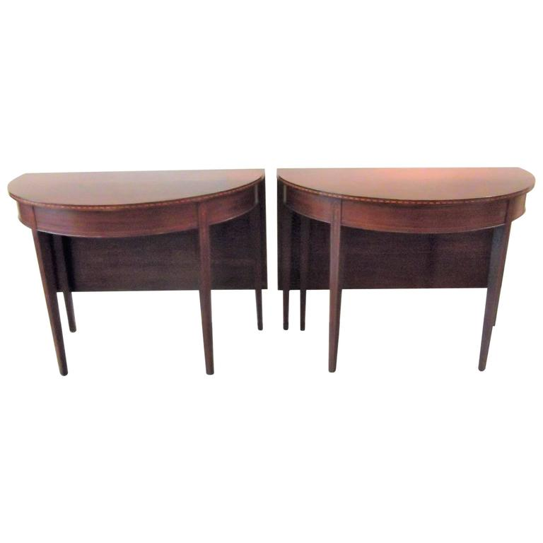 Mahogany Federal Style Inlaid Demilune Dining Table For  : 6201623l from www.1stdibs.com size 768 x 768 jpeg 20kB