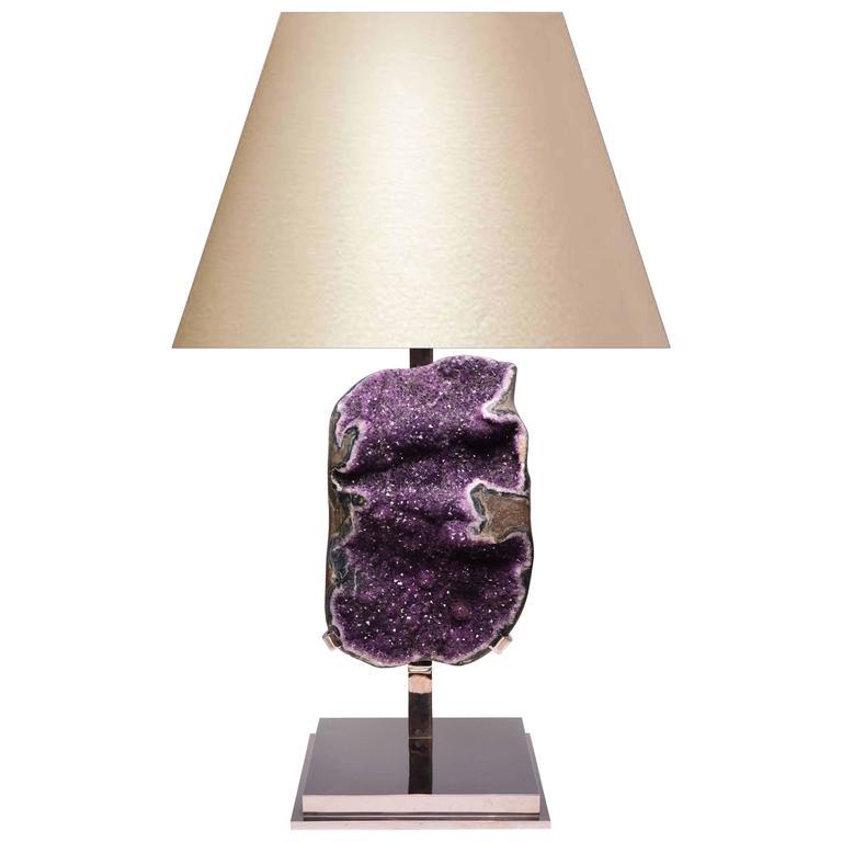 Large Natural Amethyst Rock Crystal Quartz Lamp For Sale