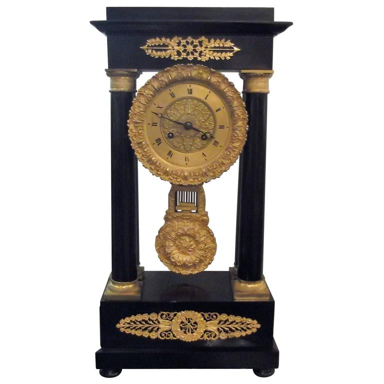 antique french empire portico clock for sale at 1stdibs. Black Bedroom Furniture Sets. Home Design Ideas