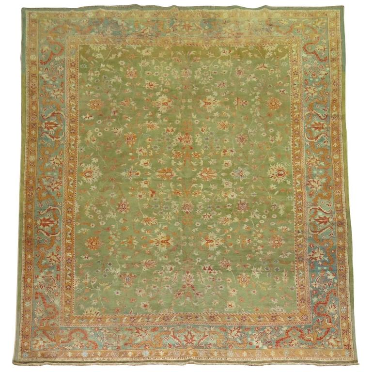 Greenery Antique Turkish Oushak Rug For Sale At 1stdibs
