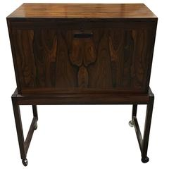 Handsome Mid-Century Rosewood Drop Front Cabinet on Stand with Fitted Interior