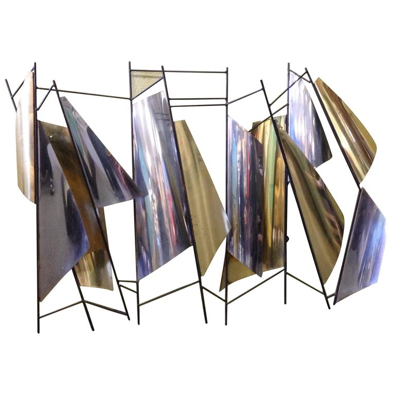 Unique Brass and Chrome Wall Sculpture by Curtis Jere