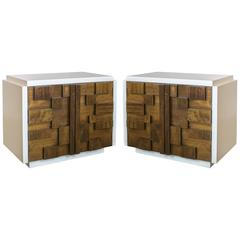 Pair of Brutalist Nightstands or End Tables for Lane Furniture from the 1960s