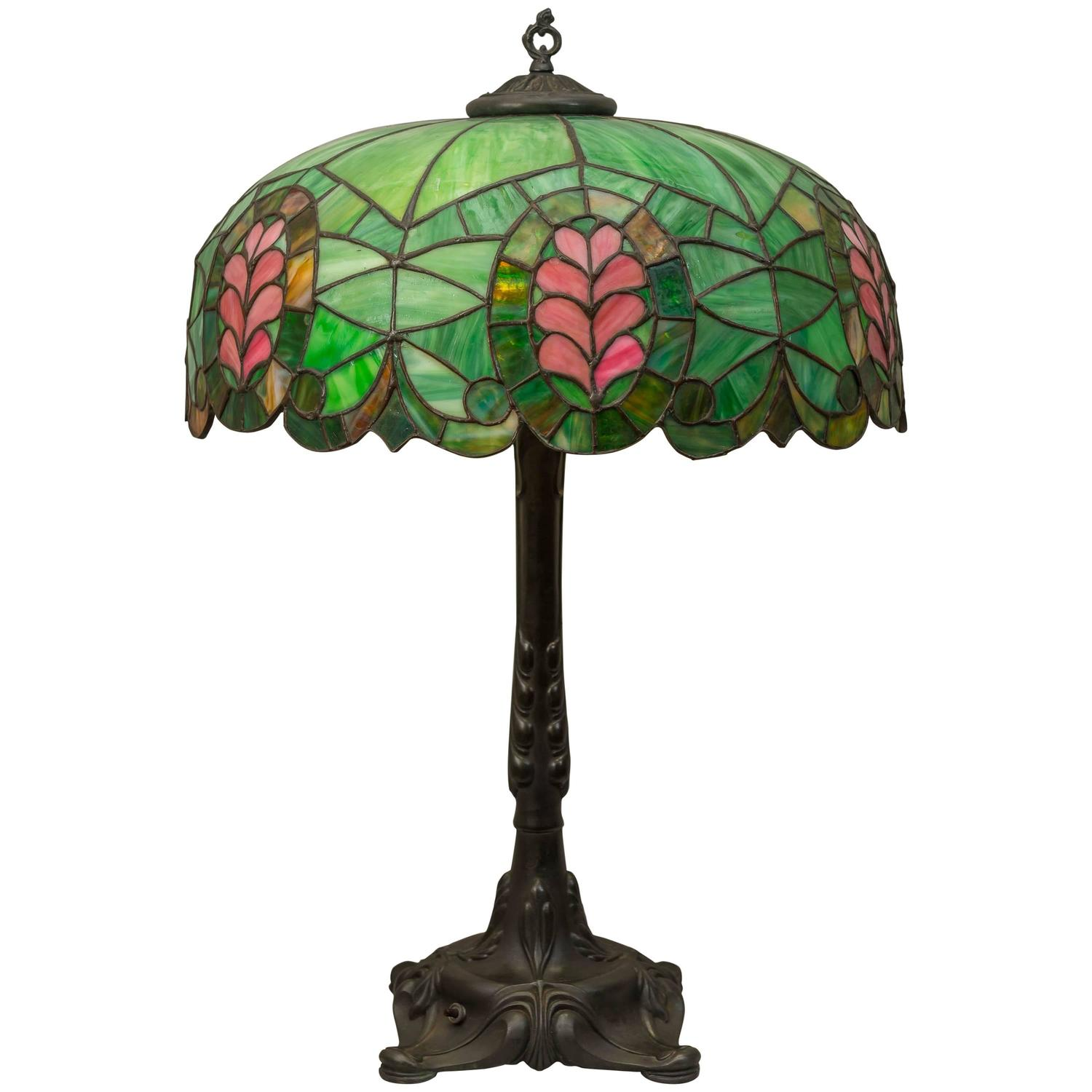Chicago Lighting Company: Leaded Glass Thistle Lamp, Chicago Mosaic Company For Sale