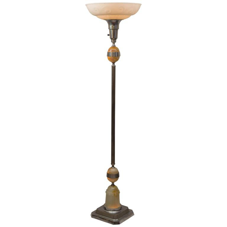Torchiere chrome and agate glass floor lamp at 1stdibs for Floor lamps chrome and glass