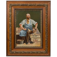 Antique Advertising Lithograph on Tin, J.B. Lewis Shoemaker Boston