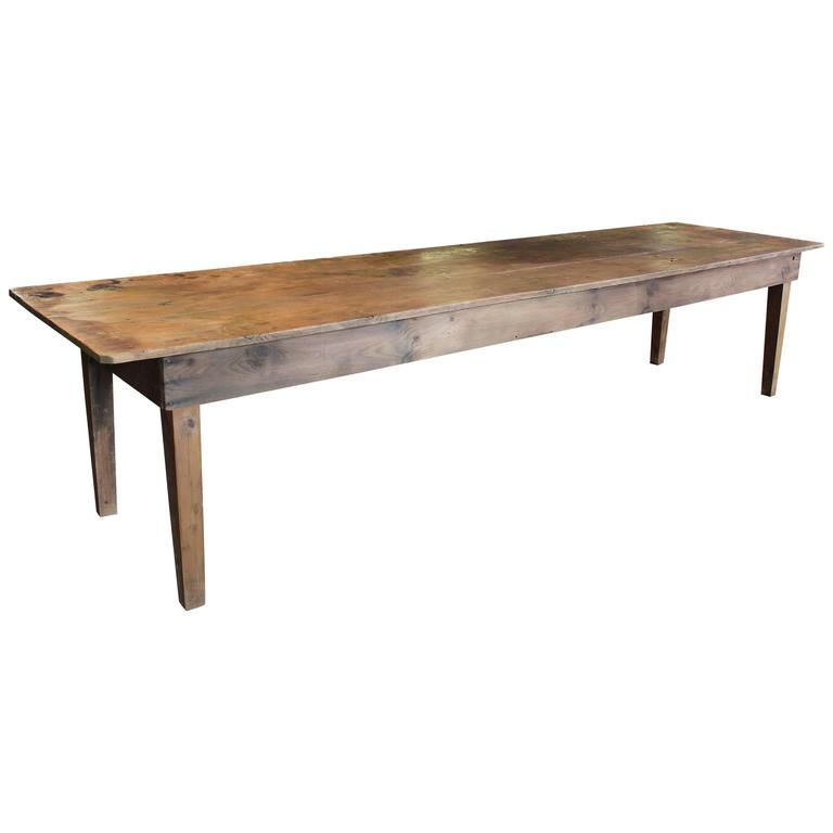 Rustic Wooden Pine Dining Harvest Farm Conference Kitchen Table At