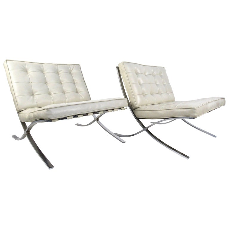 Pair of Mid-Century Modern Barcelona Style Lounge Chairs For Sale