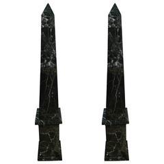 Massive Pair of Marble Obelisks