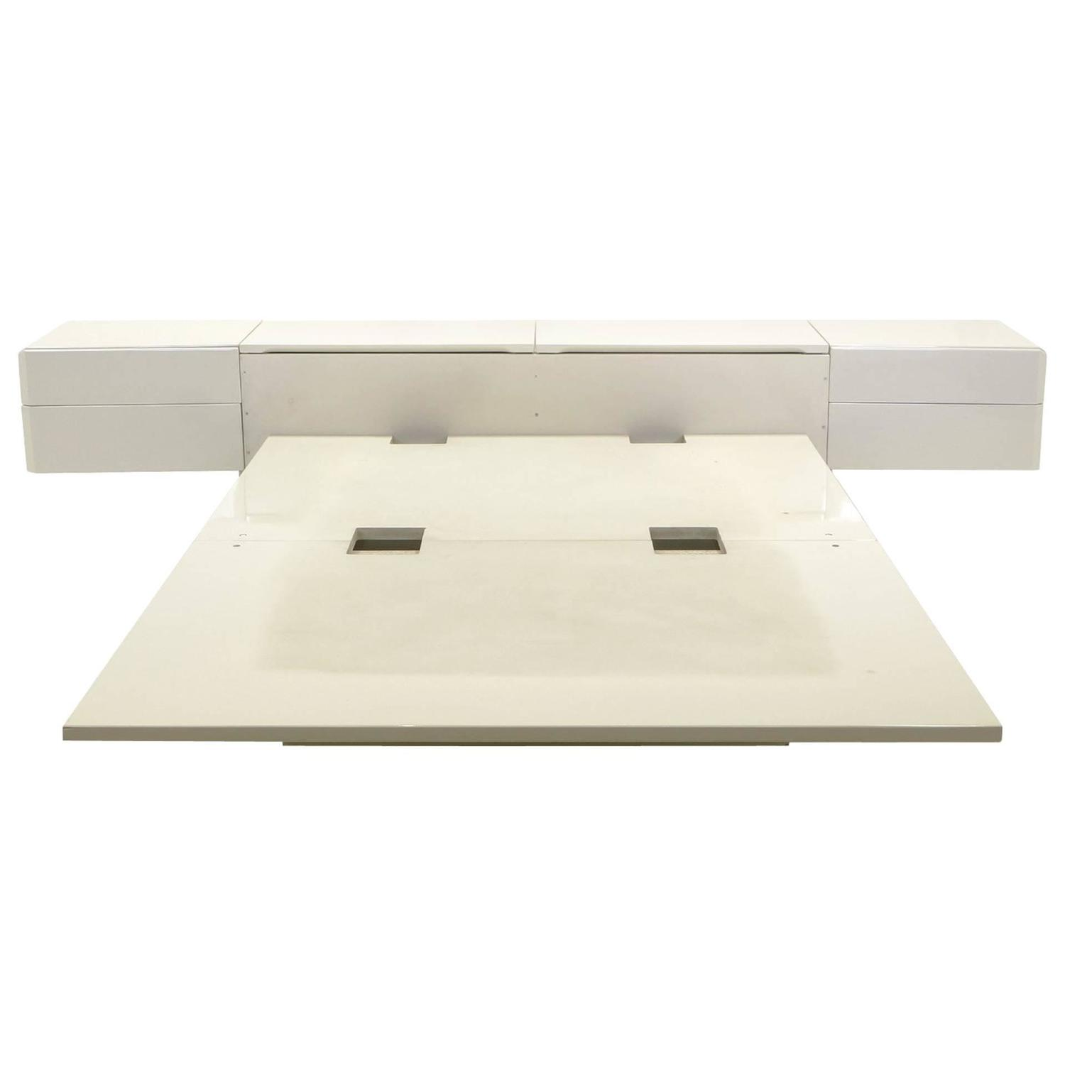Queen Ivory Platform Bed With Attached Nightstands And