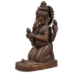 Chinese Bronze Four Arms Ganpati Mammon Elephant God Buddha Statue