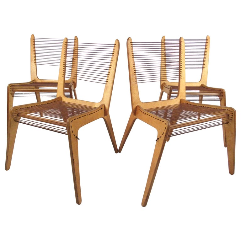 Jacques Guillon cord chairs, 1950s, offered by Horseman Antiques Inc.