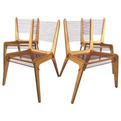Jacques Guillon Cord Chairs, circa 1950s