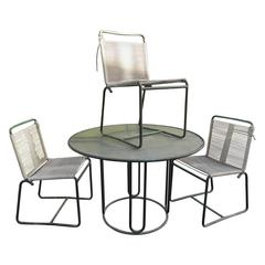 Walter Lamb Bronze Dinette Table and Three Chairs