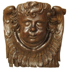 Large 17th Century Flemish Carving of a Winged Cherub