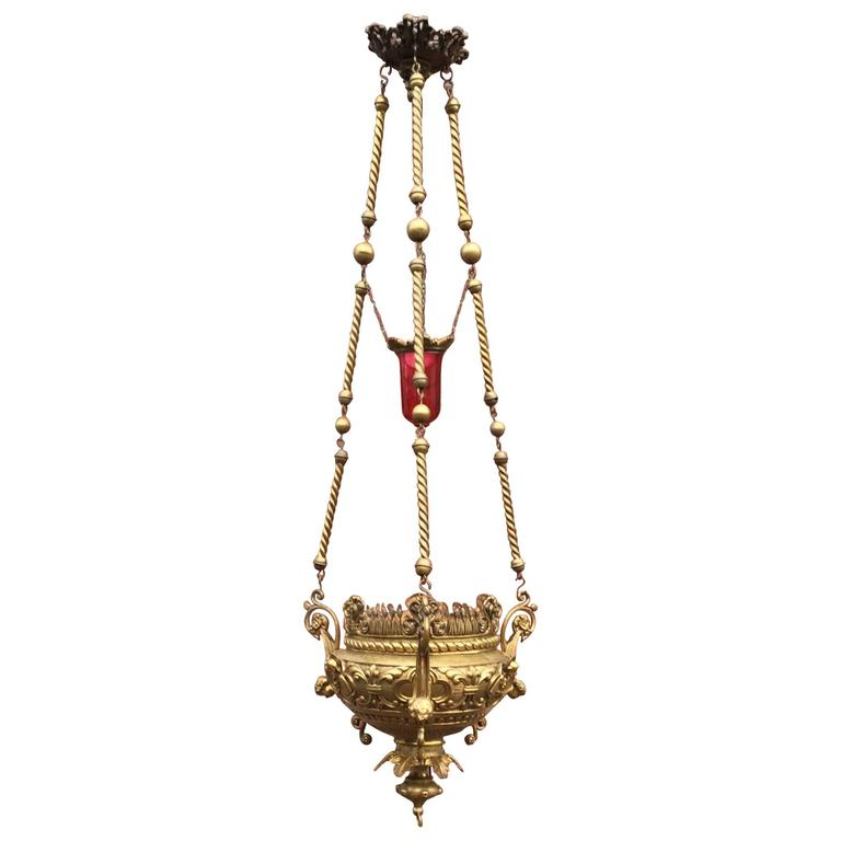 Gothic Revival Heavy Bronze Sanctuary Lamp Pendant with Glass Candle-Holder For Sale