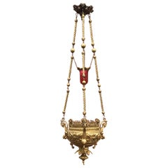 Gothic Revival Heavy Bronze Sanctuary Lamp / Pendant with Glass Candle-Holder