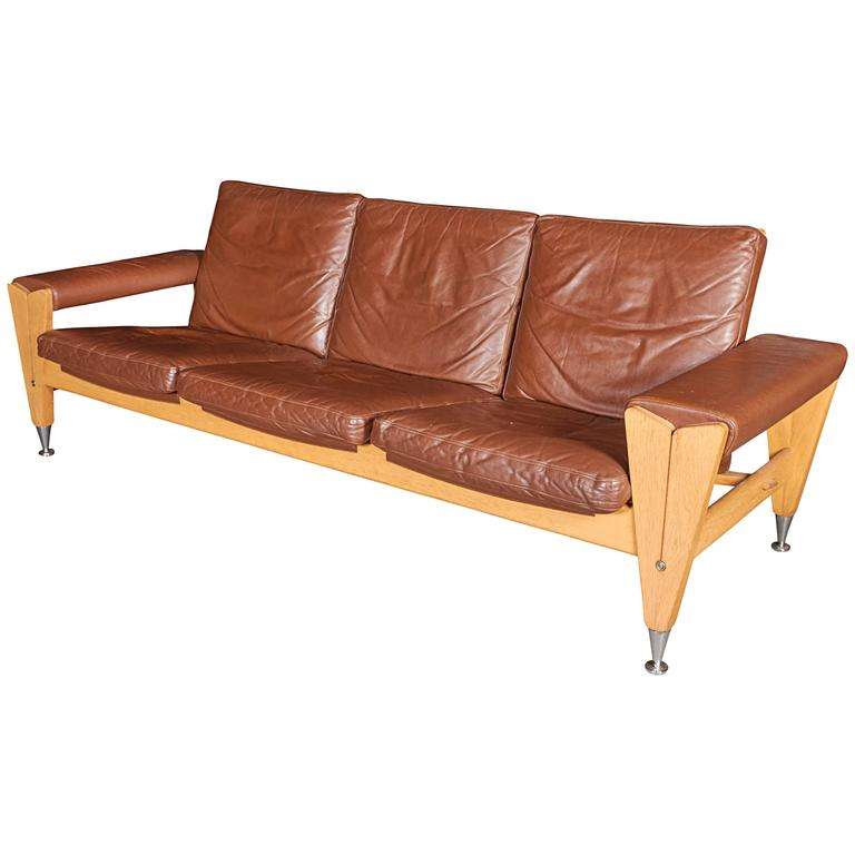 Mid Century Brown Leather Sofa by Hans Wegner 1