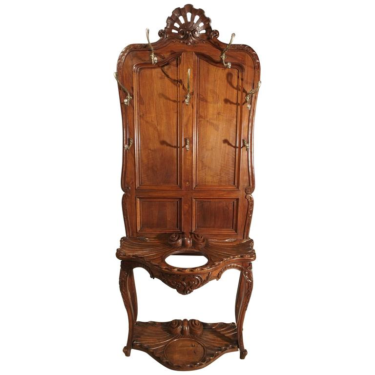 Antique French Walnut Wood Hall Rack and Umbrella Stand, circa 1880 For Sale