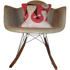 Rope Edge Checker Board, Zenith Label, Charles Eames Rocking Chair
