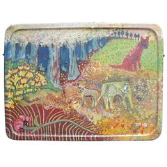 Terry Turrell Painting on Lunch Pail Tin Blue Forest