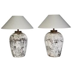 Large Rustic Chinese Wine Jar Lamps with Shades, Pair