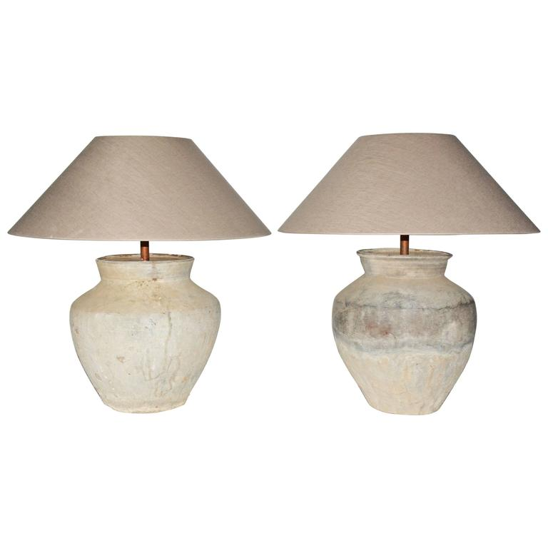 Large Antique Jar Lamps With Shades Pair At 1stdibs