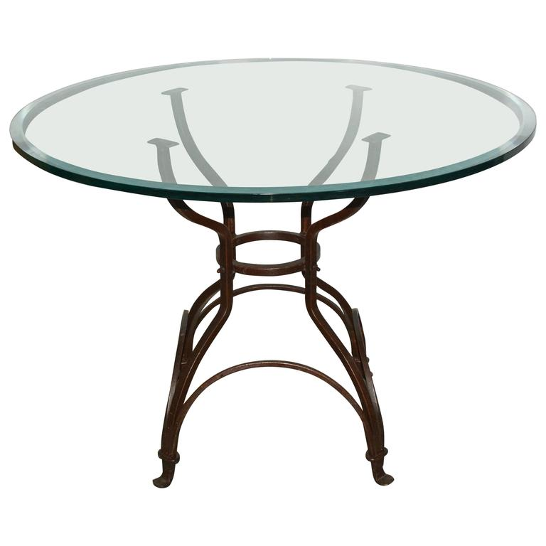 Garden metal base glass top dining table for sale at 1stdibs for Outdoor dining table glass top