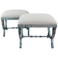"French Painted Blue Upholstered ""X"" Bench"