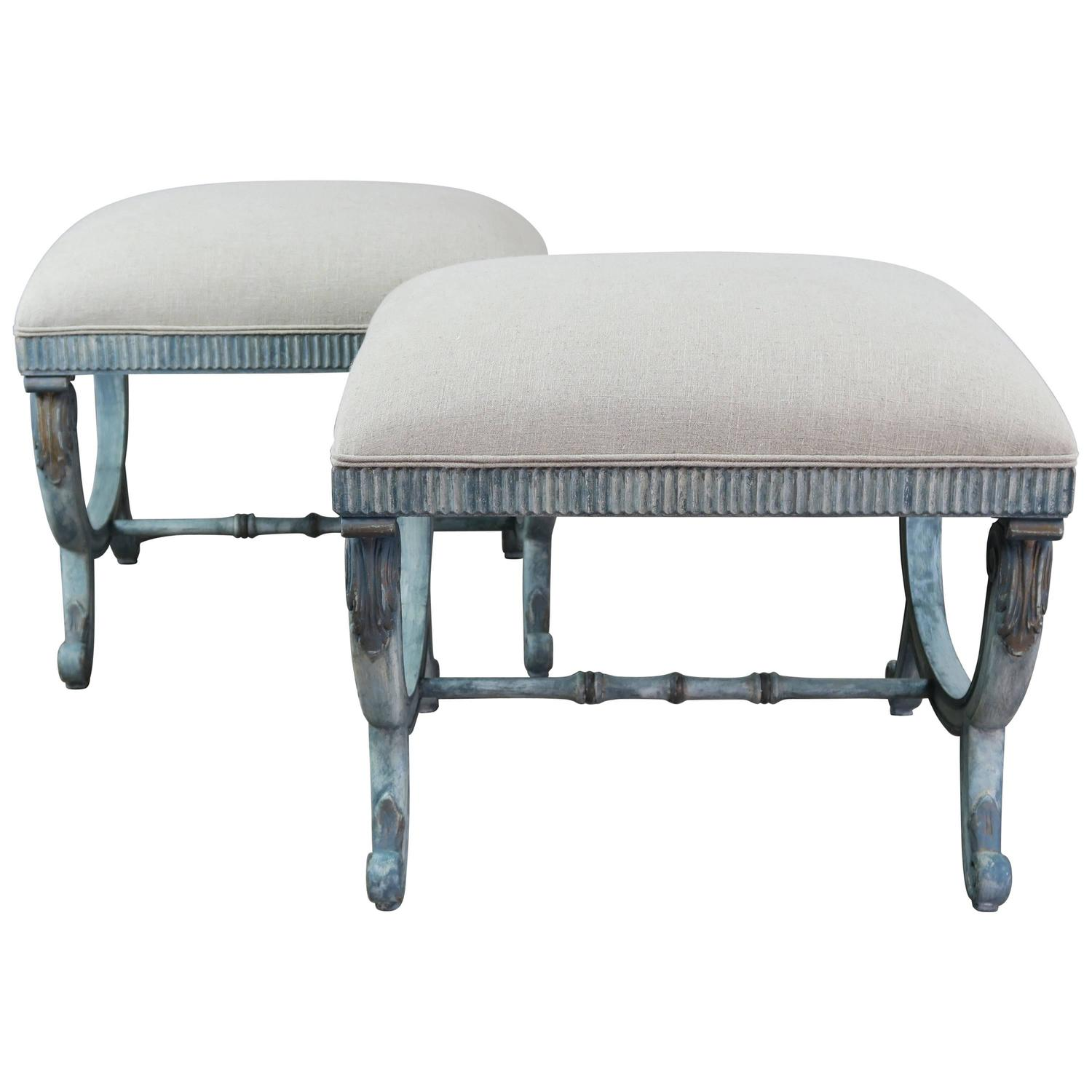 Pair Of French Painted Blue Upholstered X Benches For Sale At 1stdibs