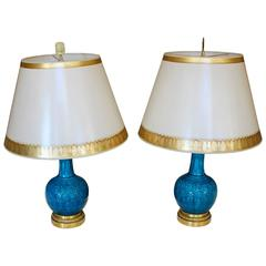 Pair of Ormolu-Mounted Theodore Deck Faience Persian-Blue Vases with Lampshades