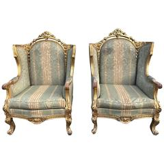 Pair of 19th Century, French Wingback Rococo Boudoir Chairs