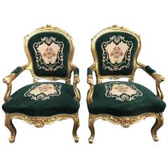 Pair of 20th Century Rococo Gilt Bedroom Chairs