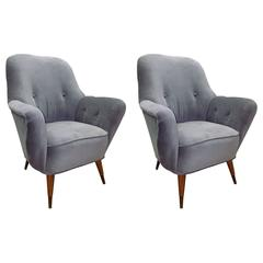 Pair of Italian Salon Armchairs in Grey Velvet, circa 1950