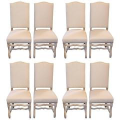 Set of Eight Os De Mouton Early 20th Century French Dining Chairs