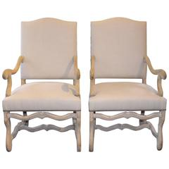Pair of 20th Century French High Back Os de Mouton Armchairs
