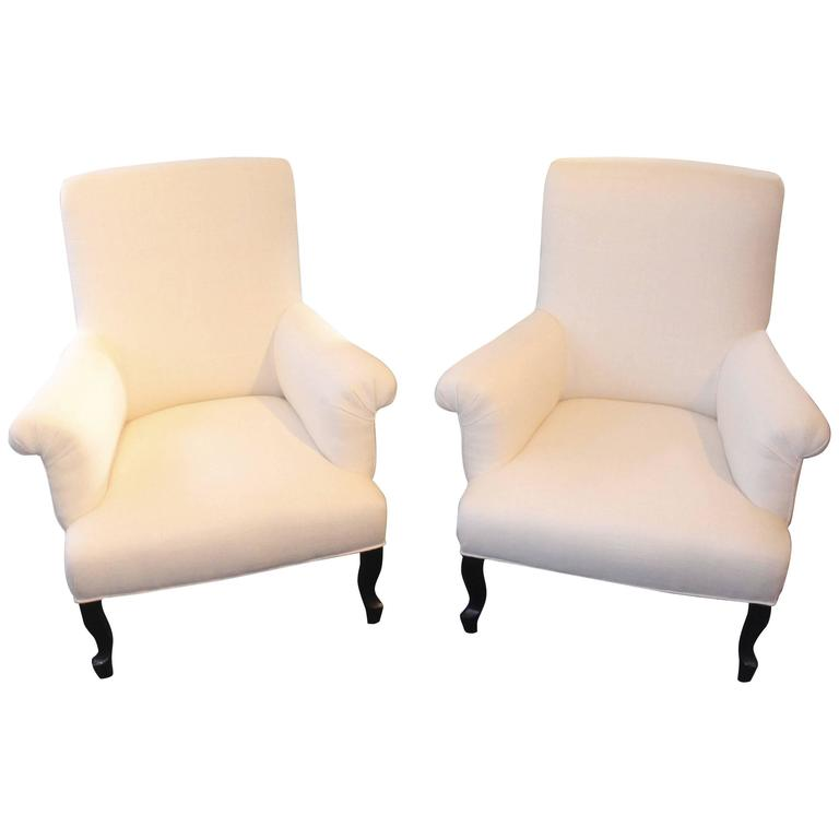 Pair of High Back Napoleon III Armchairs For Sale