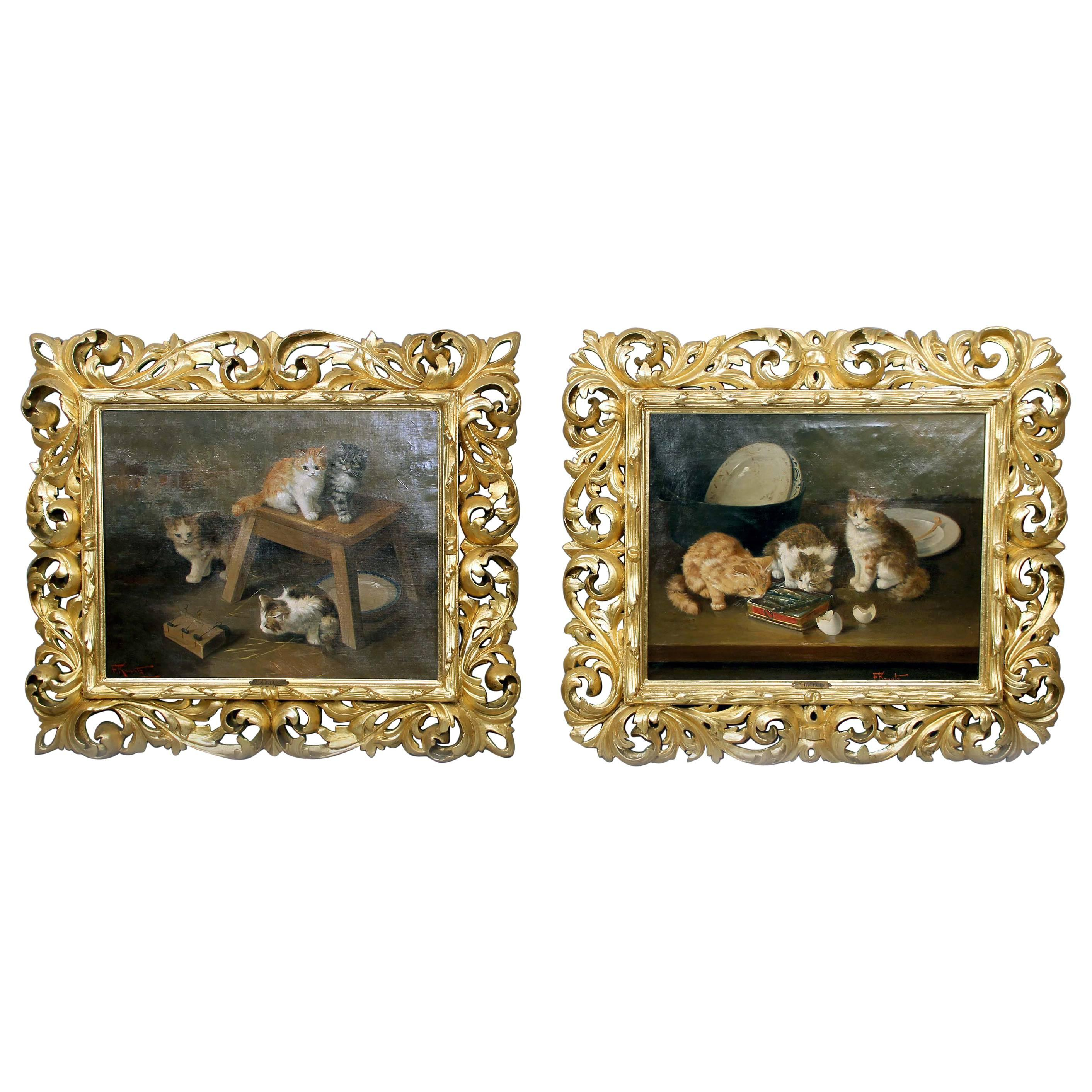 Beautiful Pair of Late 19th-Early 20th Century Kitten Paintings by F. Krantz
