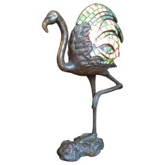 Alberic Collin A Bronze Lamp Modelled as a Flamingo & Tiffany Style Lead Glass