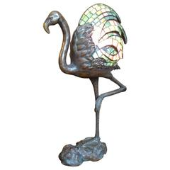 Bronze Table Lamp Modelled as a Flamingo by Alberic Collin