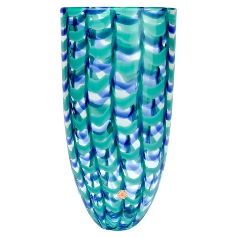 """Large Seguso Viro Murano Glass Limited Edition Blue and Green """"Grate"""" Arrow Vase"""