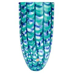 "Large Seguso Viro Murano Glass Limited Edition Blue and Green ""Grate"" Arrow Vase"