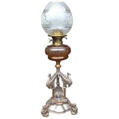 Elkington. An Exhibition Quality Aesthetic Movement Silver Plated Oil Lamp.