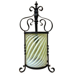 Arts & Crafts Iron Lantern with Original Swirling Vaseline/Uranium Glass shade.