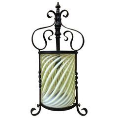 Arts and Crafts Iron Lantern with Swirling Vaseline Shade, James Powell