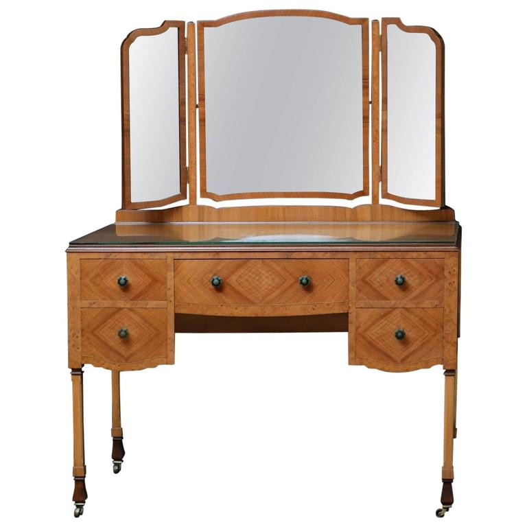 Stylish Art Deco Walnut Dressing Table With Chair At 1stdibs