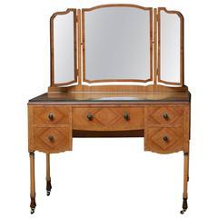 Stylish Art Deco Walnut Dressing Table with Chair