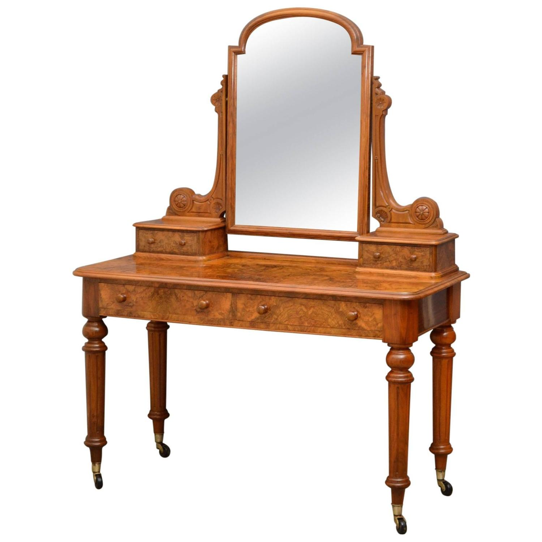 Elegant victorian dressing table in burr walnut for sale for Walnut dressing table