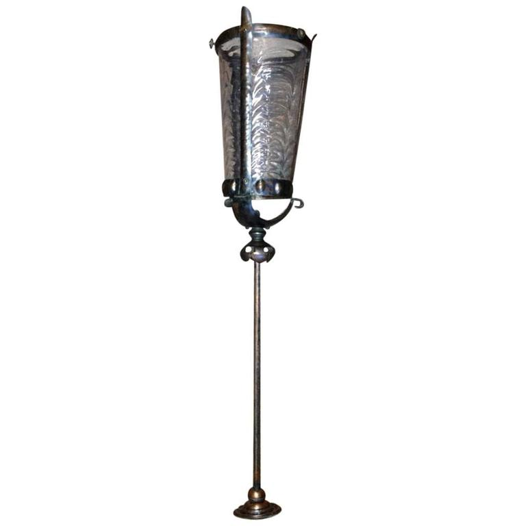 Arts and Crafts Copper Lantern with Rib Style Opaque Shade